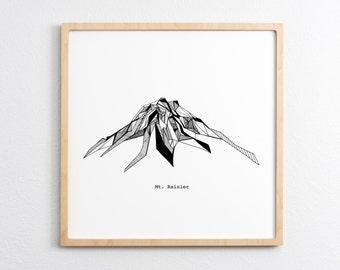 Mt. Rainier Washington Polygonal Drawing Art Print