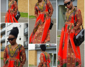 Orange Long Sleeve Dashiki Wax Ankara African Print Maxi Dress Size 10,12,14,16UK/6,8,10,12USA/38,40,42,44EU Ready To Ship