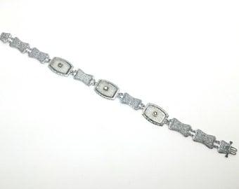 Art Deco Bracelet made of Camphor Glass and Rodium, Vintage Bracelet, Made in USA, c. 1930s