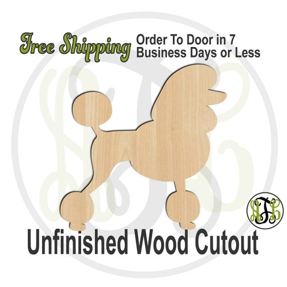 Poodle - 230087- Animal Cutout, unfinished, wood cutout, wood craft, laser cut shape, wood cut out, Door Hanger, Dog, wooden, blank