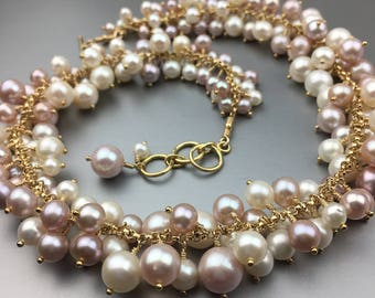 Freshwater Pearl Cluster (Pearl Bauble) Necklace