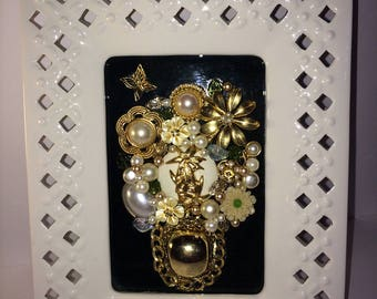 One of a Kind Framed Jeweled Art Pearl Flowers Framed Jewelry Art Bouquet of Flowers 9 1/8 by 7 1/8 Ceramic Frame