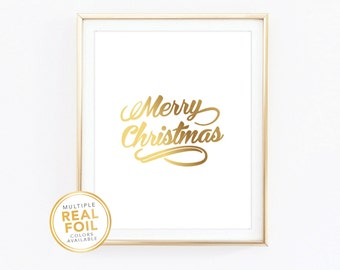 Merry Christmas, Real Foil Print, Gold foil, Silver foil, 8x10, Home Decor, Wall Art, Quote Print