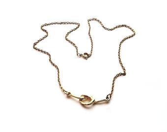 Vintage Gold Necklace with Attached Love Knot Pendant