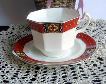 Radfords Crown Works 5240-14 with Burnt Orange Bands Art Deco Octogon Shape Crown China Tea Cup and Saucer