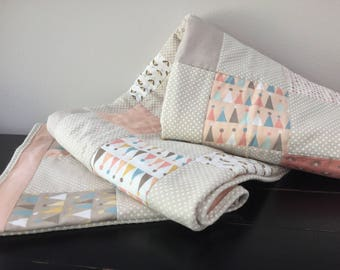 Handmade Baby Quilt, Patchwork Quilt, Girl Nursery, Modern Crib Bedding, Coral, Peach, Tan, White Flannel, Polka Dots