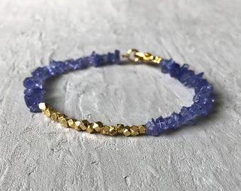 24k gold & tanzanite chip beaded bracelet