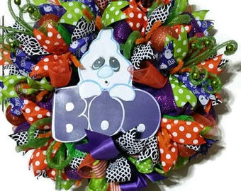 Ghost Wreath-Boo Wreath - Purple Orange Green Halloween Wreath- Halloween Deco Mesh Wreath