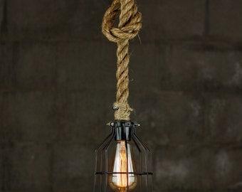 The Huntsman Pendant Light - rustic Industrial manila rope Lighting - Manila Rope swag Ceiling lamp - Edison bulb hanging chandelier