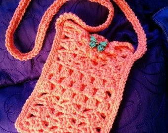 hippie crochet phone bag tangerine