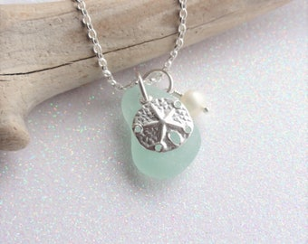 Scottish Sea Glass and Sterling Silver Sand Dollar Necklace - Beach Necklace - Sea Glass from Scotland - Beach Wedding