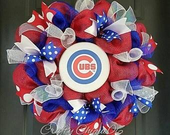 Chicago Cubs Wreath; Cubs; Baseball
