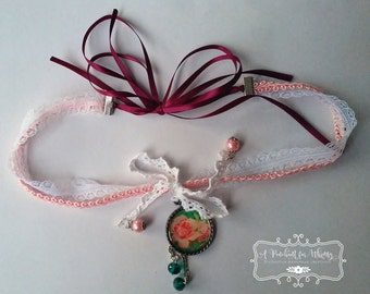 Unique Vintage Shabby Chic Choker Necklace with Ribbon Closure