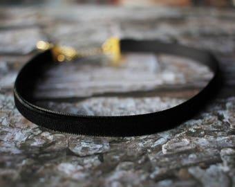 Black Velvet Choker - Chokers - Black Choker - Velvet Choker - Gold chain