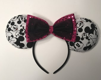 Classic Mickey Faces mouse ears headband