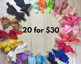 "Set of Baby bow headbands- 4"" Bow headband bundle-20 headband bows"