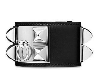 Collier de Chien Palladium Silver Leather Bracelet