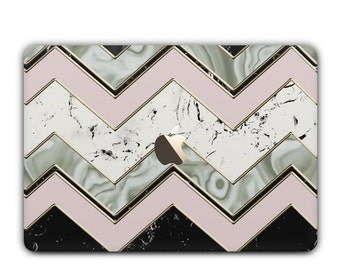 Marble Zig Zag MacBook Case with Chevron Agate Pattern, Air, Pro, 2016, Retina, 11, 12, 13, 15 unique design marble hard case - Cream Pink