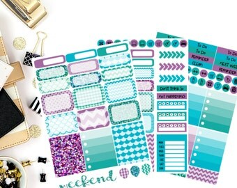 Mermaid Kisses Weekly Kit Planner Stickers! Perfect for your Erin Condren Life Planner, calendar, Paper Plum, Filofax!