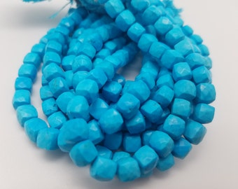 7 mm , Turquoise 3D Cubes , 8.0 inches