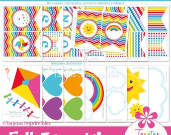 Full arch Rainbow Kit printable party decorations