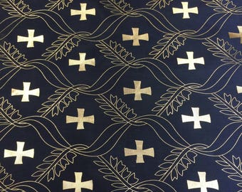 Satin Foil Gold Cross Design (Black) (60 in.) Sold By The Yard