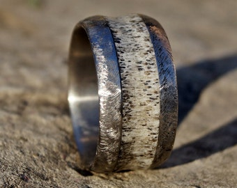 Natural deer antler stainless steel ring