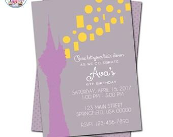 Tangled Invitation, Editable Tangled Invitation, Rapunzel Invitation, Rapunzel Birthday Party