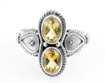 Double  Faceted Citrine Ring Sz 8.5 Wiccan Ring Gemstone Ring  November Birthstone Yellow Gemstone Witch Ring