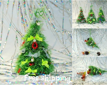 Christmas ornaments Hand Knitted Christmas decoration Eco friendly Table centerpiece Fireplace mantel New year. Office, Home, Cubicle Decor.