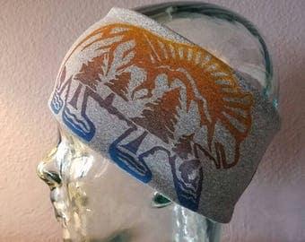 Active Headbands/ fitness headbands/ workout headbands/yoga headbands/ running headbands with block printed bear design