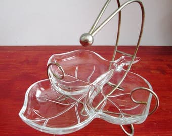 Vintage Glass Relish And Condiment Set With Metal Handle