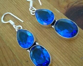 Droplet blue topaz on 925 silver