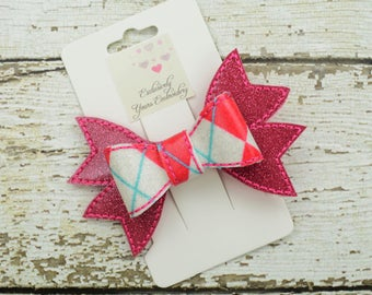 Pink Argyle Hair Bow - Cheer Bow - Pink, Blue, White Bow - 4 inch - Specialty Bow - Hair Accessory - Hair Clip
