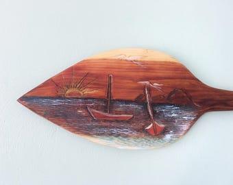 Hand Carved Cedar Boat Oar Ocean Scene Carving Reclaimed Cedar Beach House Nautical Decor Boat Decor Boat Art