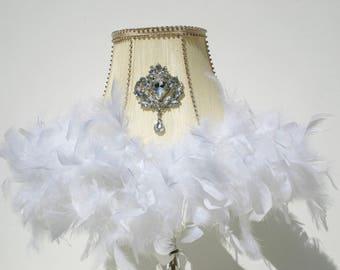 Lampshade, white lampshade, ivory lampshade, crystal lampshade, empire lampshade, feather lampshade, 1950s lampshade, lightingVivo 50s