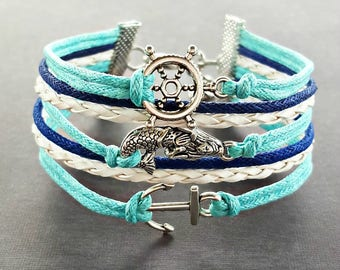 Mermaid Bracelet, Anchor Bracelet, Nautical Bracelet, Mermaid Jewelry, Mermaid Gifts, Anchor Jewelry, Ocean Bracelet, Beach Bracelet