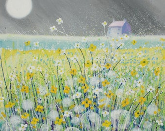 Grey skies/original painting/landscape/yellow field/meadow painting/wall art/rapeseed/contemporary/dandelion clocks/flowers/