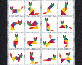 Tangram Cats - 16 Quilt Block Patterns - Foundation Paper Piece Patch - PDF Download