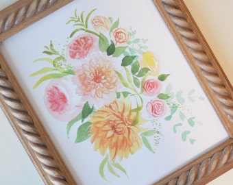 Peachy Floral Art Print