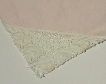 Vintage Pale Pink Cotton Handkerchief with Lacy Corner (#2318)