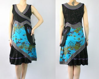 Black/Blue Faux Wrap Cotton Dress