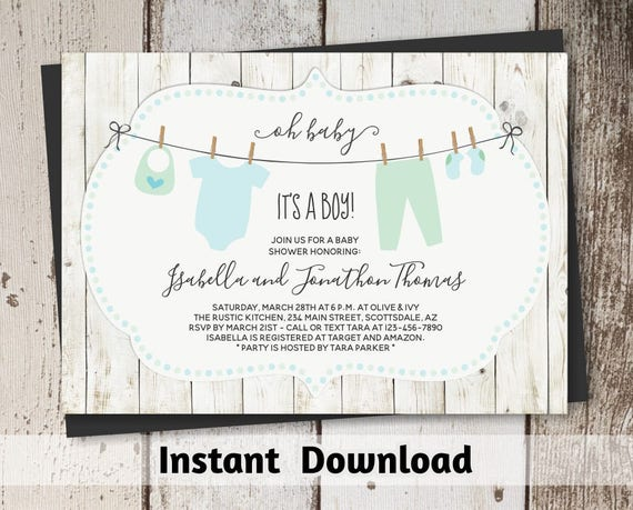 rustic baby shower invitation for boy printable template. Black Bedroom Furniture Sets. Home Design Ideas
