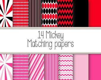 14 Mickey and Friends Matching digital Papers.