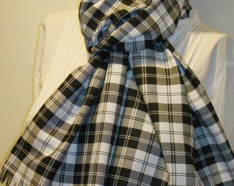 Menzies Black Plaid Fringed Wrap~Shawl Oversize Blanket Cozy Fringes Scarf~Black White Plaid wrap ~Handmade Gift Scarf Wrap @sohoskirts