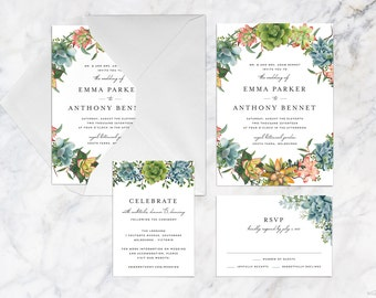 Printable Wedding Invitation Set, Succulents Wedding Invitation Set, Colourful Succulents Plant Wedding Invitation Set