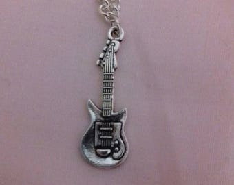 Guitar Pendant Necklace, Music Fan Chain, Musical Gifts,  Silver Plated Chain, Music Themed Gift, Instrument Pendant, Stylish Jewellery