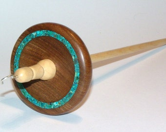 Top Whorl Drop Spindle with Turquoise Stone Inlay (453)