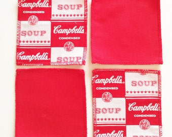 Coasters themed cotton Andy Warhol (Campbell's soup)