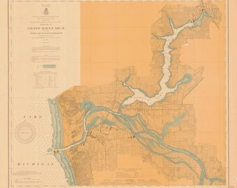 Lake Michigan - Grand Haven Map 1907